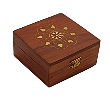 decorative wooden jewelry box with brass inlay and velvet interior - Decorative Wooden Boxes