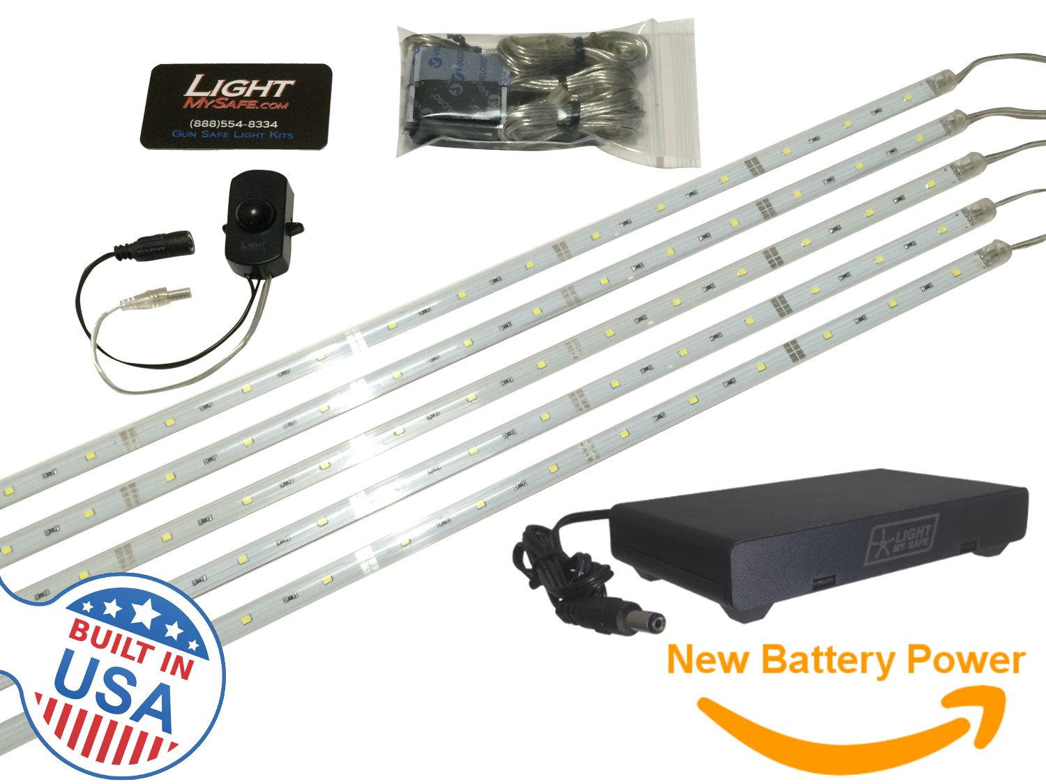 Executive Gun Safe Lighting Kit w/ Motion Switch (Battery Operated) : Tactical Grade American Lights - 2,250 Total Lumens