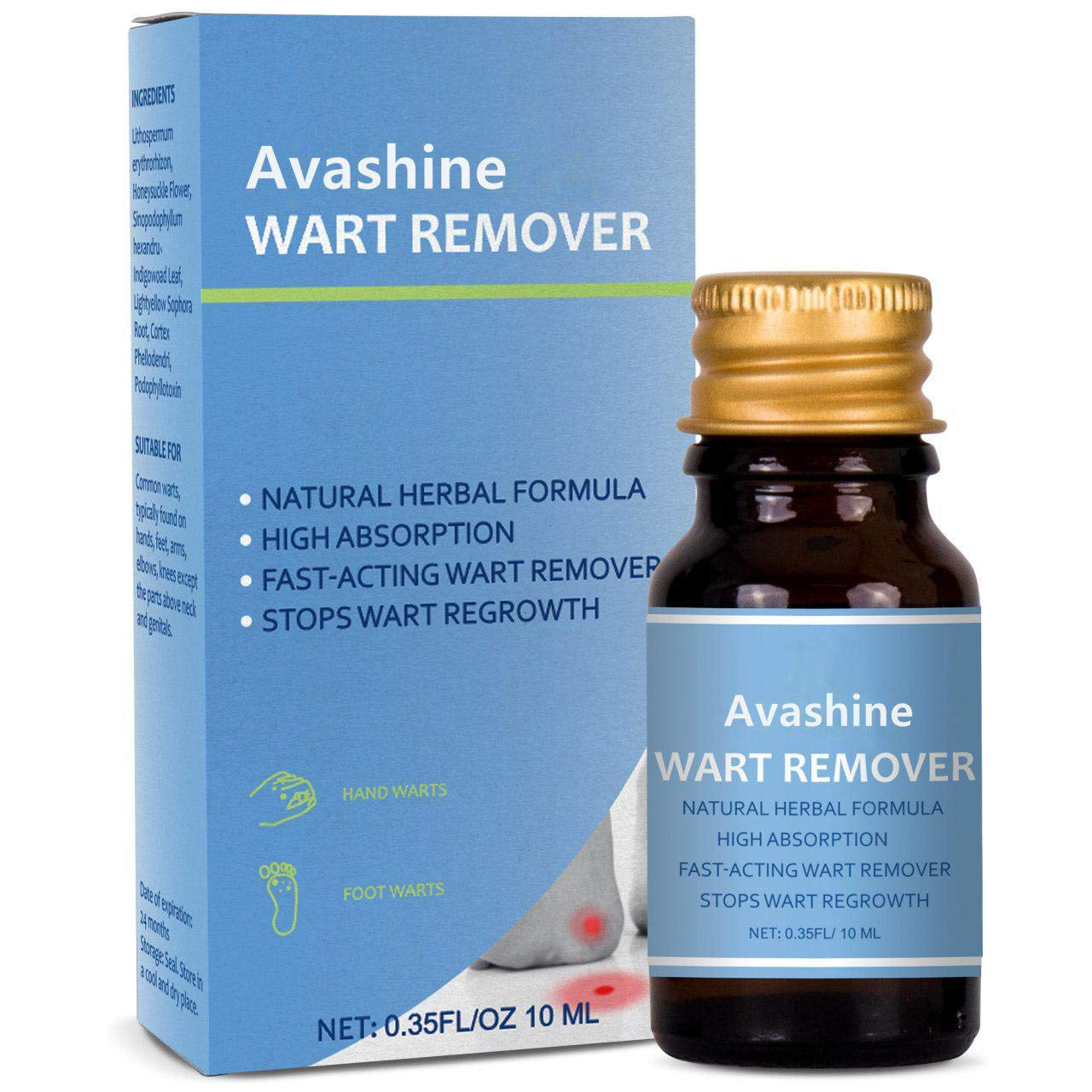 Avashine Wart Removal, Painlessly Removes Common, Hand and Plantar Wart Remover, Maximum Strength Wart Liquid, Strong & Effective Wart Infection Treatment by Avashine