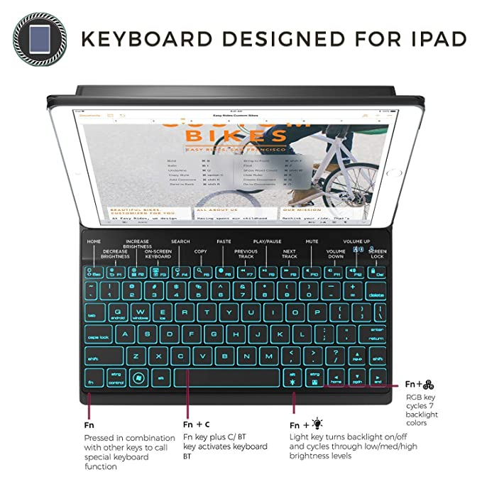 fd4045df5eb Amazon.com: YEKBEE iPad Keyboard Case for New 2018 iPad, 2017 iPad, iPad  Pro 9.7, iPad Air 1 and 2 - BT Backlit Detachable Quiet Keyboard - Slim  Leather ...