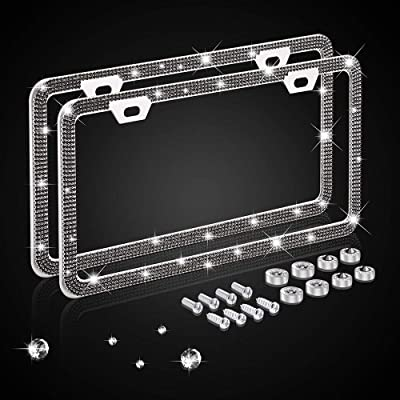 Nomiou Bling Narrow Black License Plate Frame,Luxury Handmade Waterproof Glitter Rhinestone Crystal Premium Stainless Steel Licence Plate with Anti Theft Screw Caps for Front and Back License: Automotive
