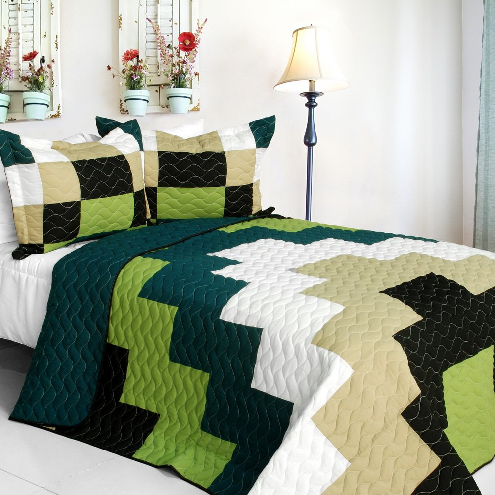 [Rising Girl] Vermicelli-Quilted Patchwork Geometric Quilt Set Full/Queen
