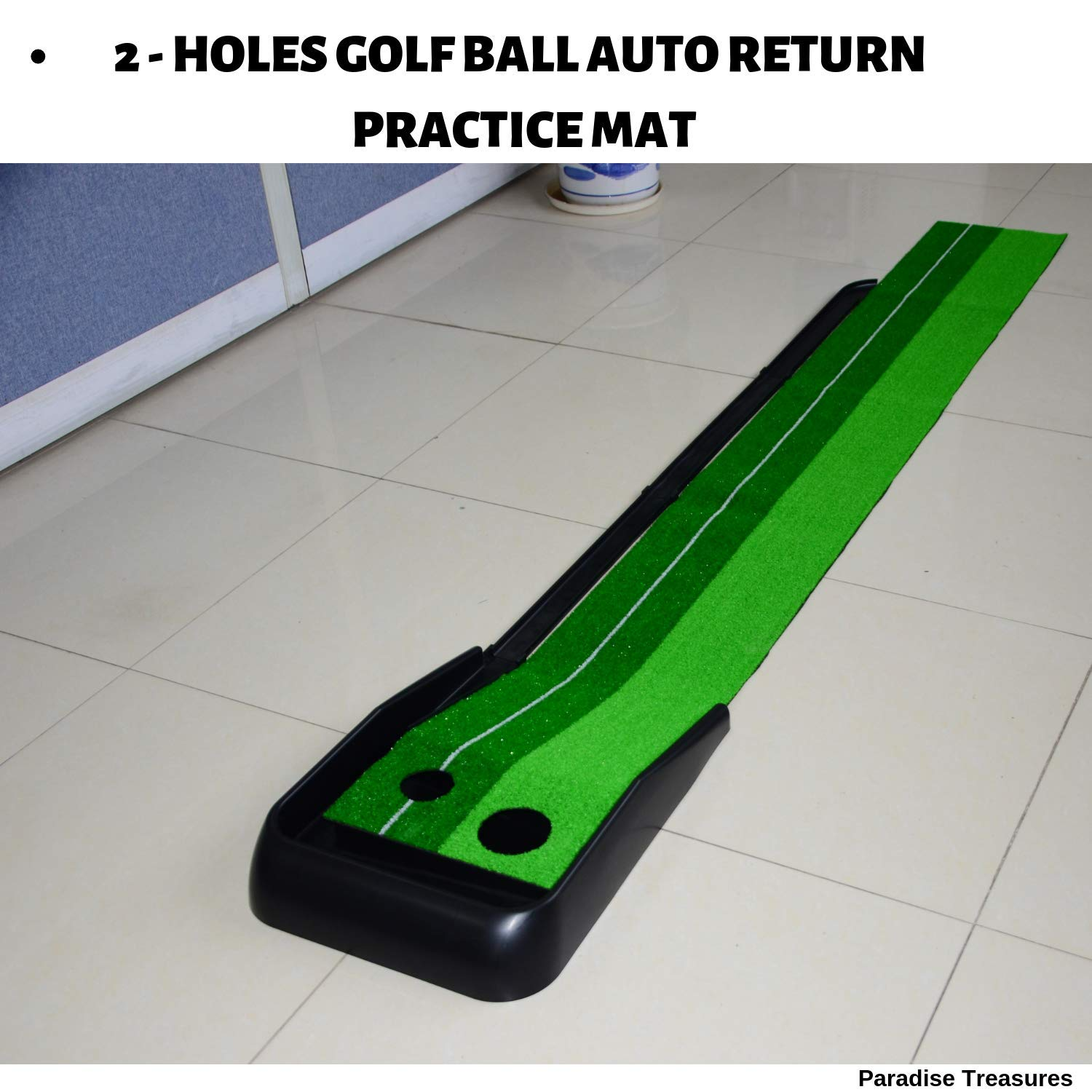 Paradise Treasures Golf Putting Green System Professional Practice Green Long Challenging Putter Indoor/Outdoor Golf Simulator Training Mat Aid Equipment Gift for Dad (1.5ftx10 auto Return Green)