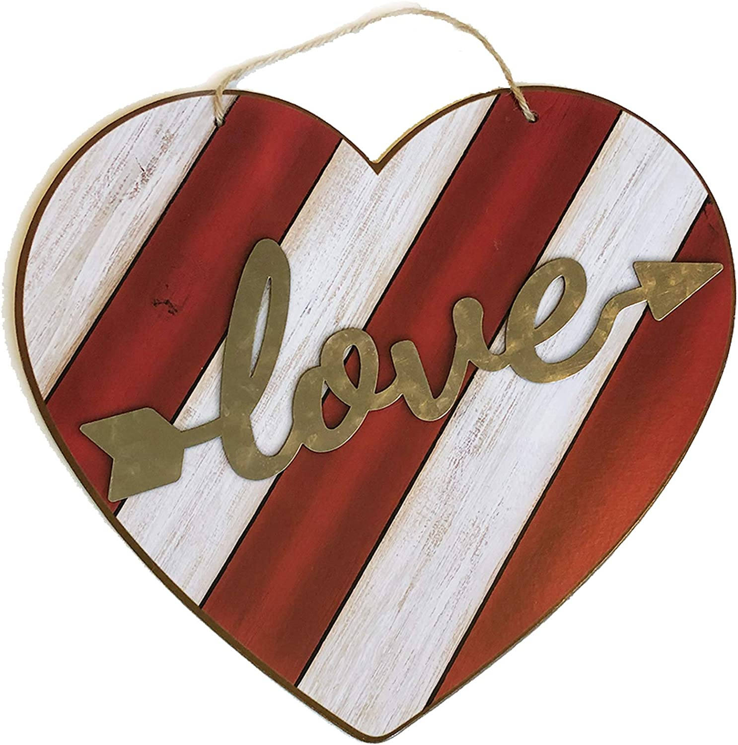 Valentines Day Decor Wooden Sign Red Heart Shaped 12