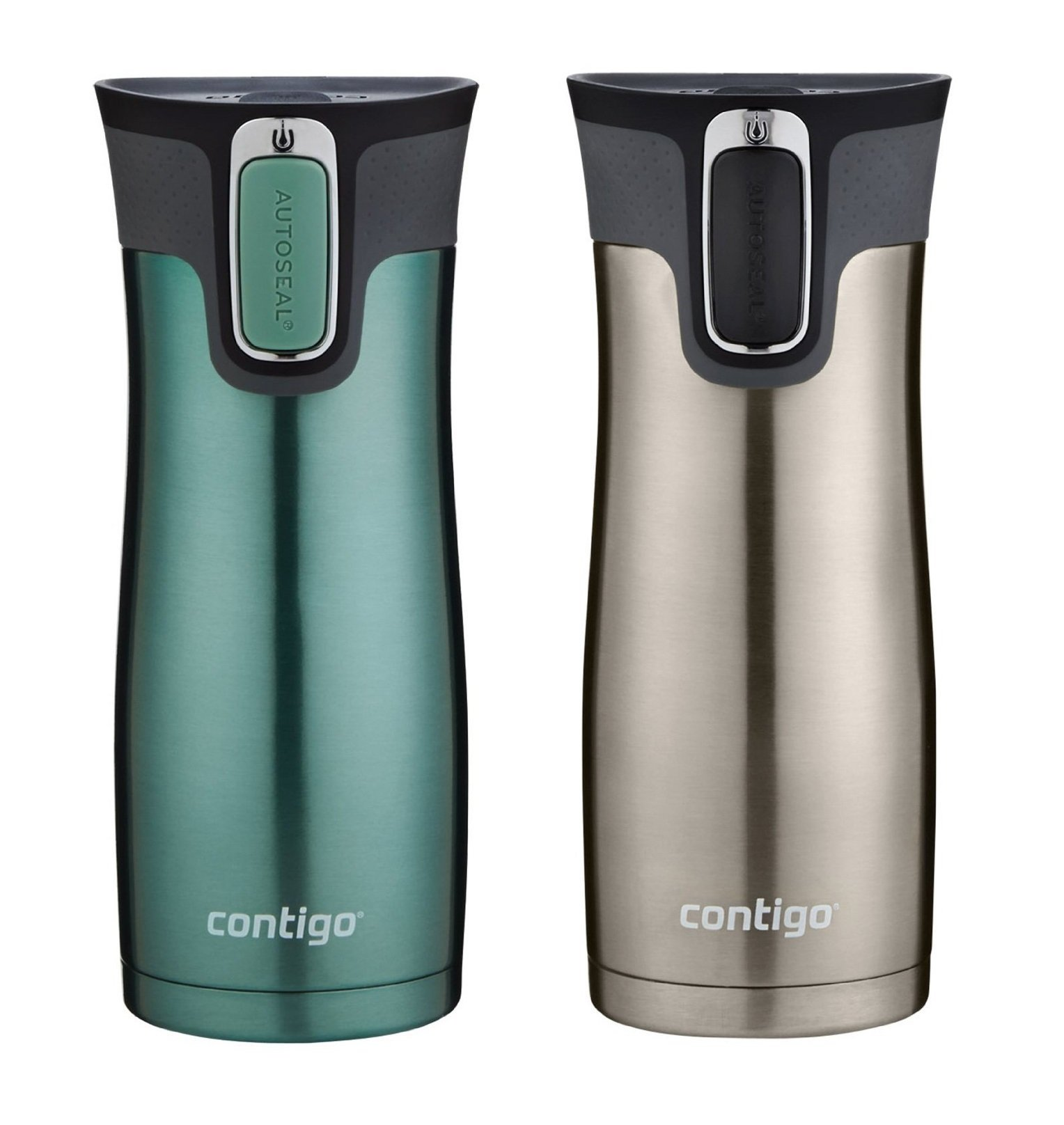 Contigo AUTOSEAL Travel Mug - Stainless Steel Vacuum Insulated Tumbler - 2 Pack (Green/Stainless Steel)
