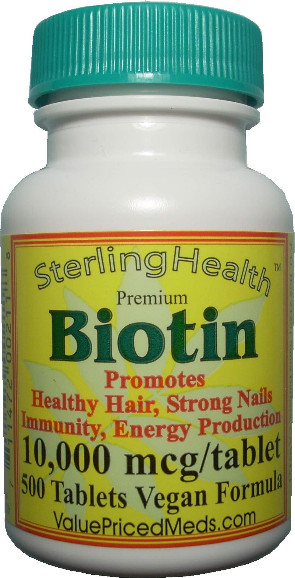 Biotin 500 tablets,10,000 mcg, for hair growth, skin, strong nails, biotin 10mg