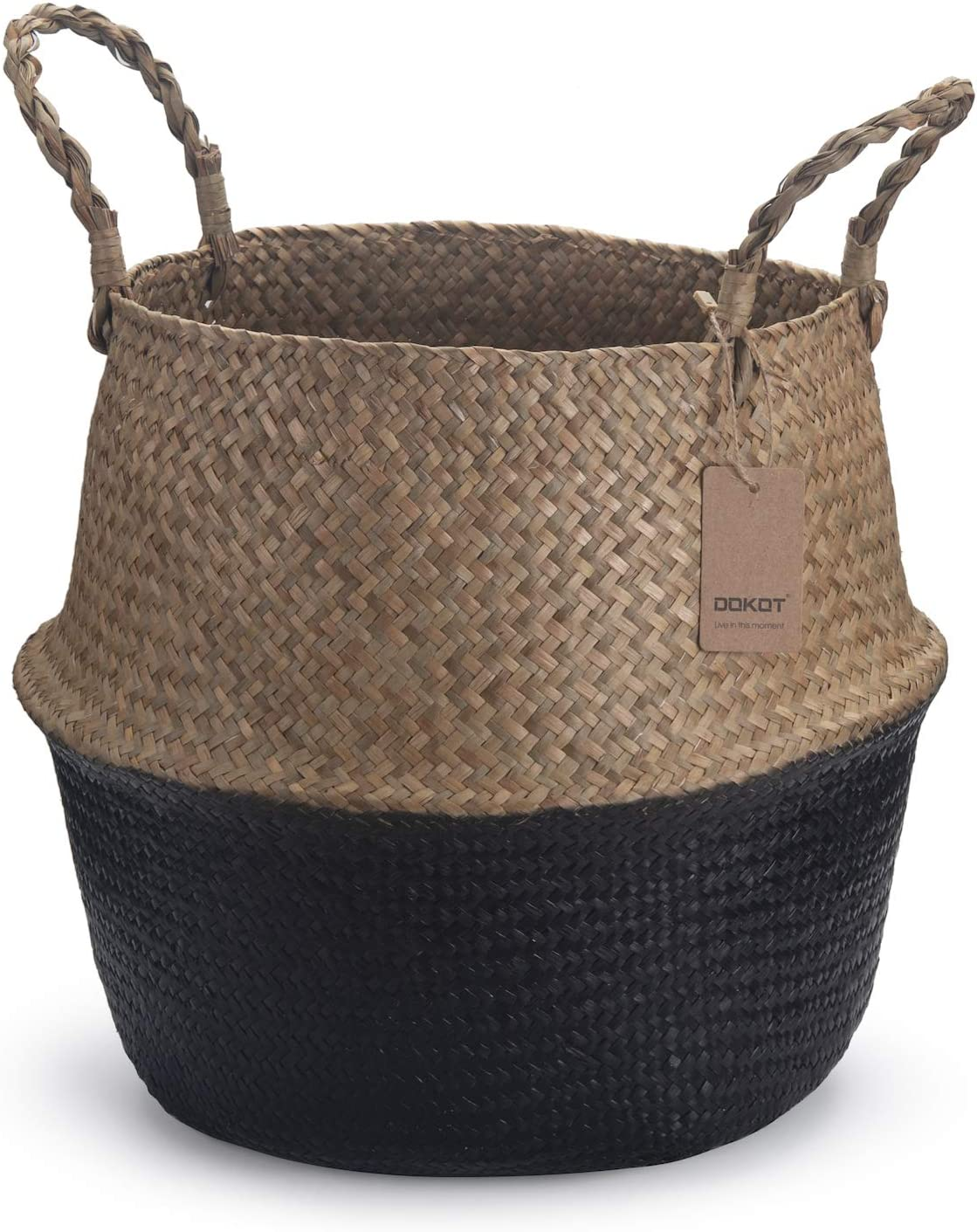 DOKOT Seagrass Belly Basket with Handles Natural Woven Planter Baskets for for Indoor Plants Storage Laundry (Black 9 inch D x 11 inch H)