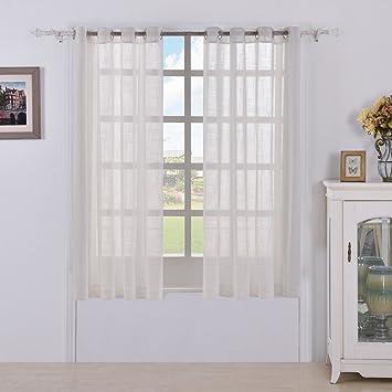 Best Dreamcity Faux Linen Sheer Curtains For Bedroom, Window Treatment  Drapes, Grommet Top,