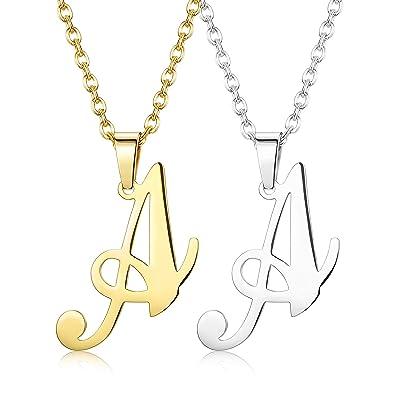 Finrezio 2 Piezas De Collar Acero Inoxidable Alfabeto Letras Iniciales para Mujeres Hombres Colgante De AZ Tono De Oro Y Tono De Plata