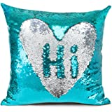 """Shevalues Sequins Pillow Cover Mermaid Fish Scale Pillowcase Throw Pillow Cover Cushion Covers 16""""x16"""""""
