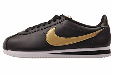 f44eaf0a4d655 Nike Women's WMNS Classic Cortez Leather HK, Black/Metallic Gold-White, Size