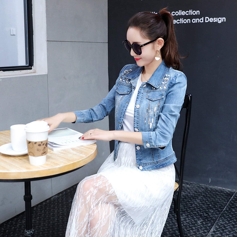 2019 Autumn New Ladies Slim Denim Jacket Long Sleeves Jeans Jacket with Beading Sequins Short Coat Female