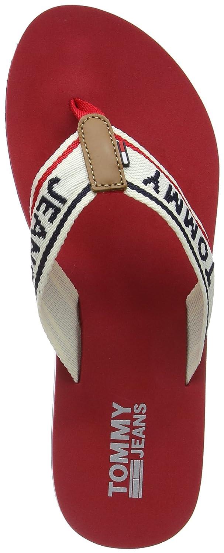 Hilfiger Denim Damen Tommy Jeans Low Beach Sandal Zehentrenner  40 EU Rot (Tango Red 611)