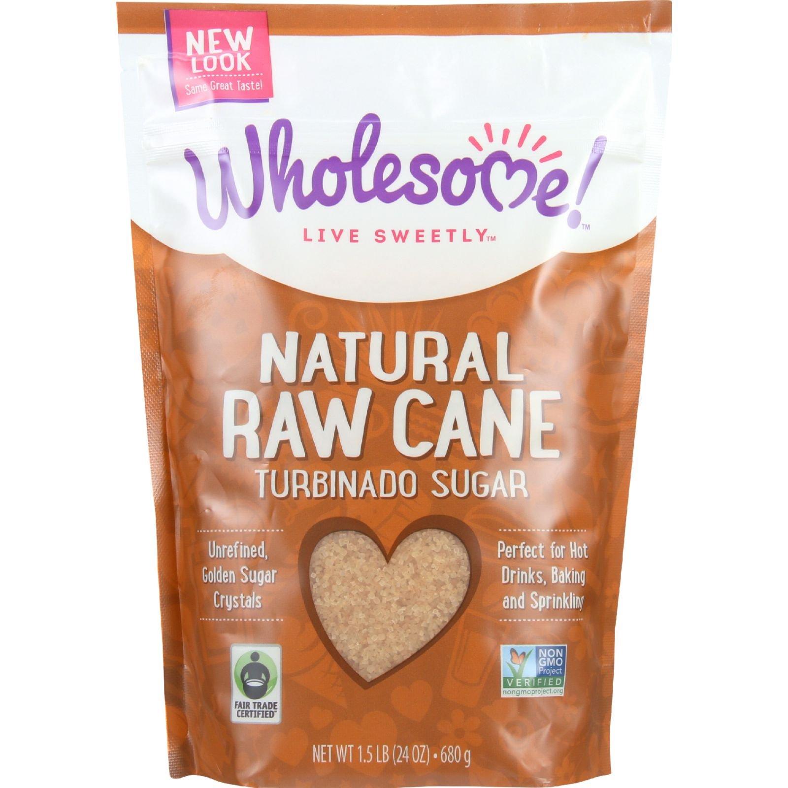 Wholesome Sweeteners Sugar - Natural Raw Cane - Turbinado - Fair Trade - 1.5 lb - case of 12 - Gluten Free -