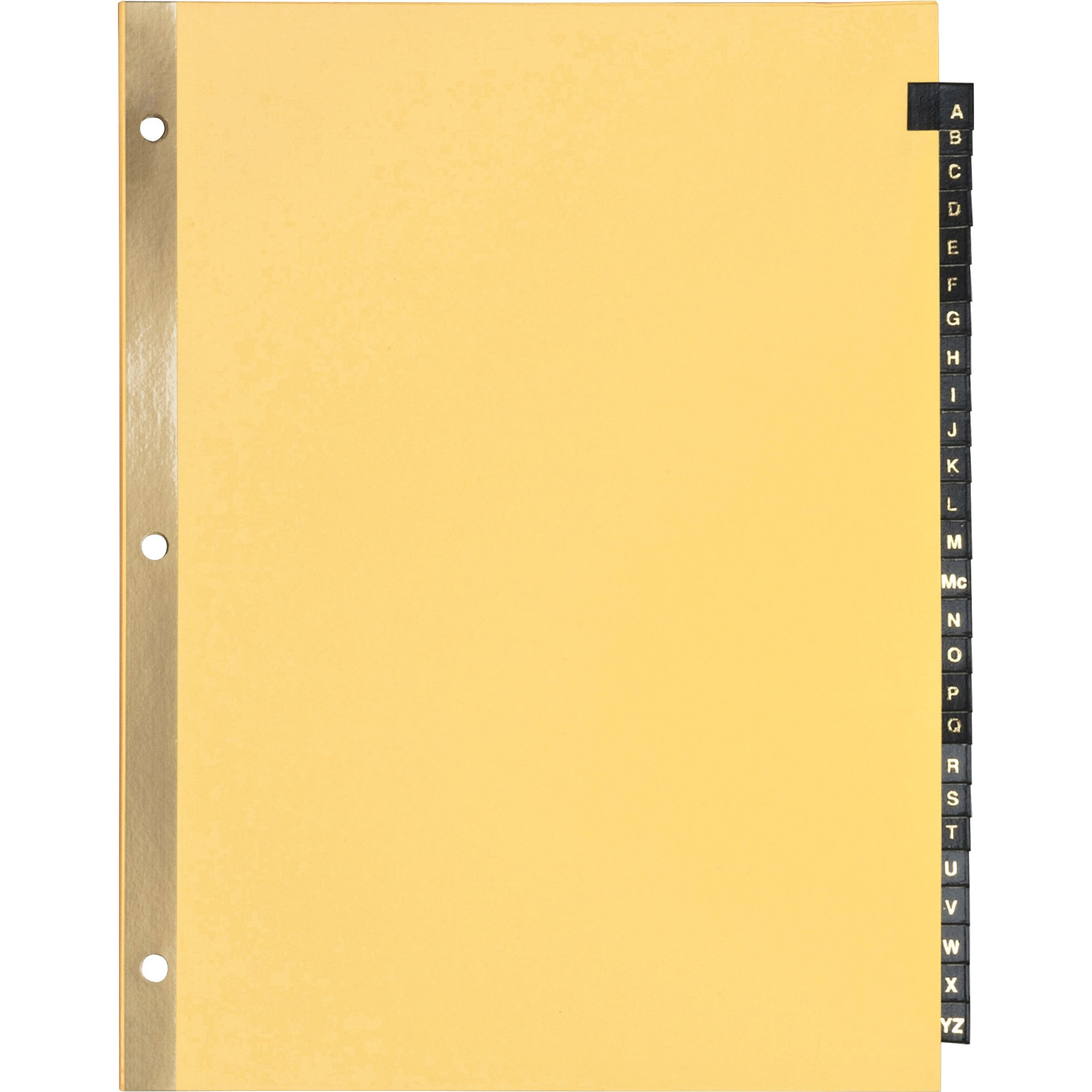 S.P. Richards Company Black Leather Tab Indexes, A-Z, 11 x 8-1/2 Inches, 12-Sheet, Buff (SPR01181)