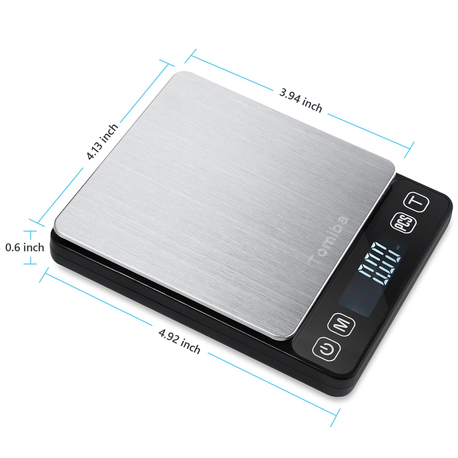 Digital Touch Pocket Scale 0.01oz - Tomiba 3000g Small Portable Electronic Precision Scale (0.1g) Resolution 2 AAA Batteries Included by Tomiba