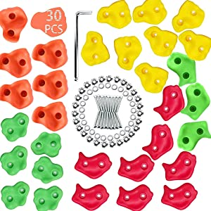 Trisomy 30 Big Rock Climbing Holds for Kids and Adults, Hand Holds for Home Climbing Wall, Rock Wall Grips for Indoor and Outdoor Playground Play Set ,Rock Climbing Wall kit with Mounting Hardware