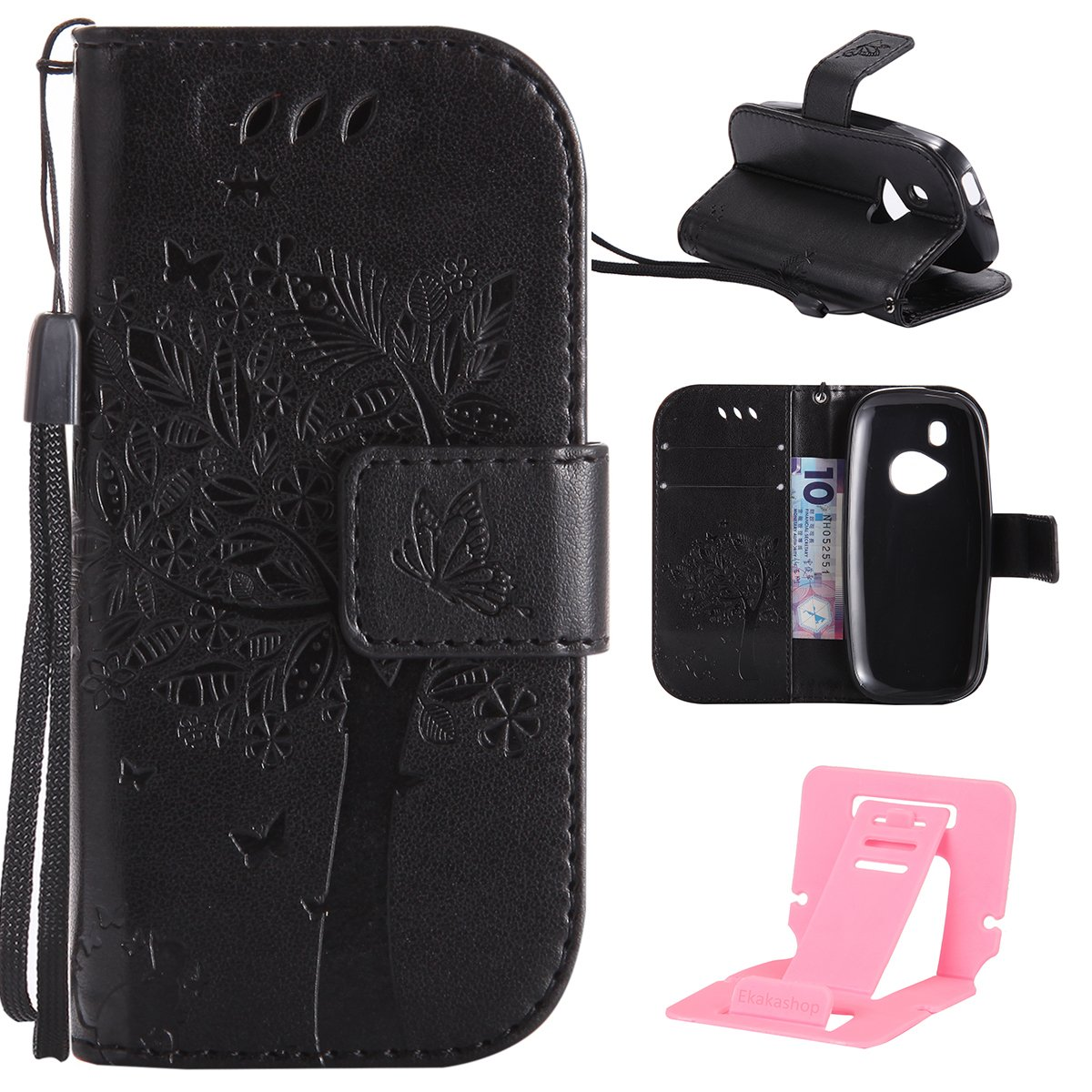 Cover for Nokia 3310 2017 Stand case, Nokia 3310(2017) Leather Case, Ekakashop Animal Floral Pure color Fashion Cat and Tree Pattern Embossing Strong Magnetic Ultra Slim Thin Flip Folio PU Leather Case with Hand strap, Soft Silicone Rubber Inner Shell Shoc