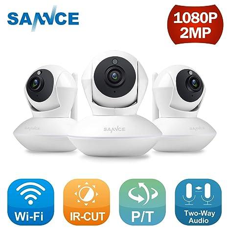 SANNCE Kit de 3 Cámaras IP WiFi 1080P Video Vigilancia IR Vision Nocturna Incorporado Micrófono y