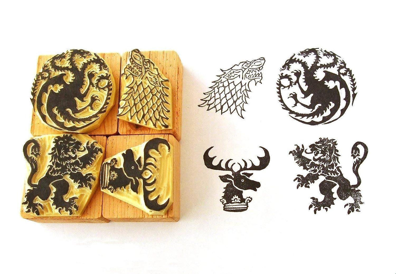 House Lannister Game of Thrones inspired Hand carved rubber stamp set 2 House Baratheon Sigils House Stark House Targaryen