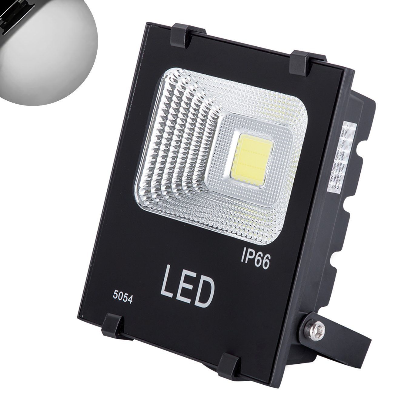 GM Lighting Outdoor LED Flood Lights 20W LED Security Lights Halogen Bulb Equivalent with IP66 Waterproof for Garage, Garden, and Yard, Daylight White, 2000Lm