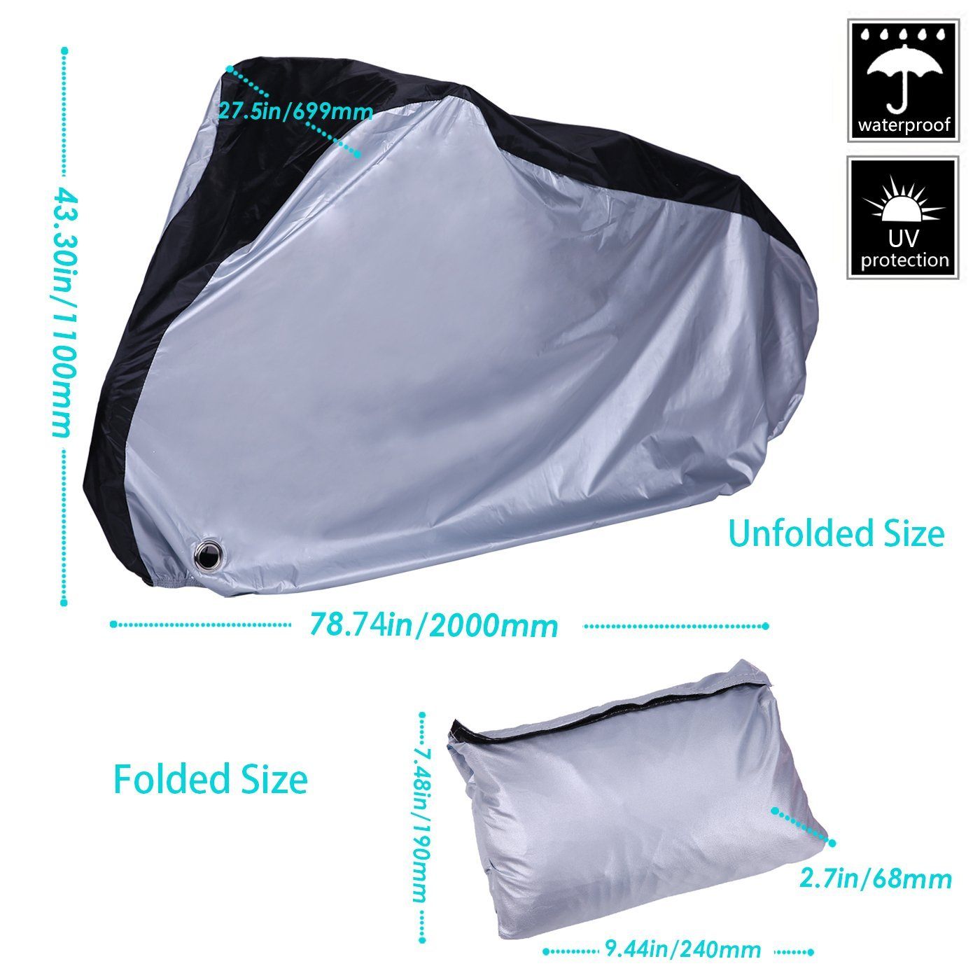 XL Silver and Black HDE Bike Cover Waterproof UV Protection Outdoor Indoor Bicycle Protector with Lock Hole for Bikes with Wheel Size Up to 29 inches