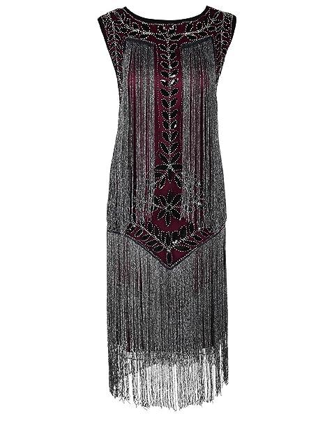 Kayamiya Mujeres Vestido de Flapper 1920s Lentejuelas Borla Vestido de Gatsby S Borgoña