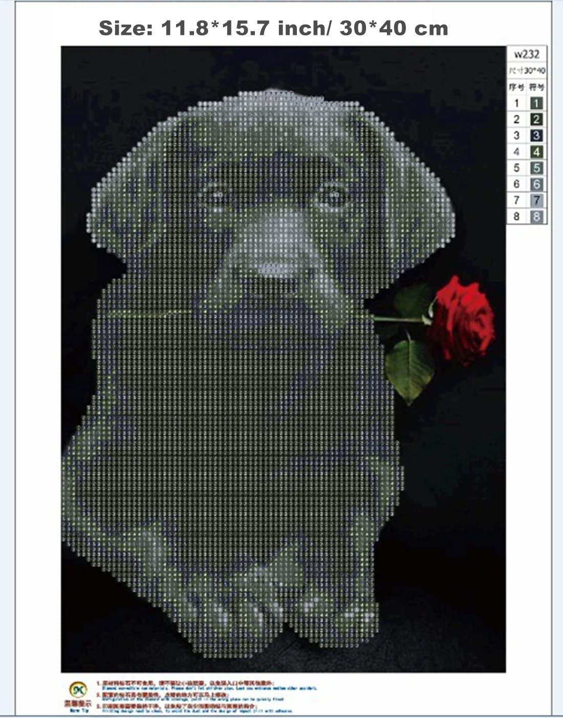 Square diamond diy art Kit per pittura a mosaico 5D dimensioni: 35 x 25 cm kit per ricamo a punto croce pittura diamante quadrato con perline fai da te motivo: cani e famiglia