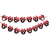 Kempo Red Minnie Happy Birthday Banner Red Bow Polka Dot Mini Mouse for Kids Girls Boys Party Decorations