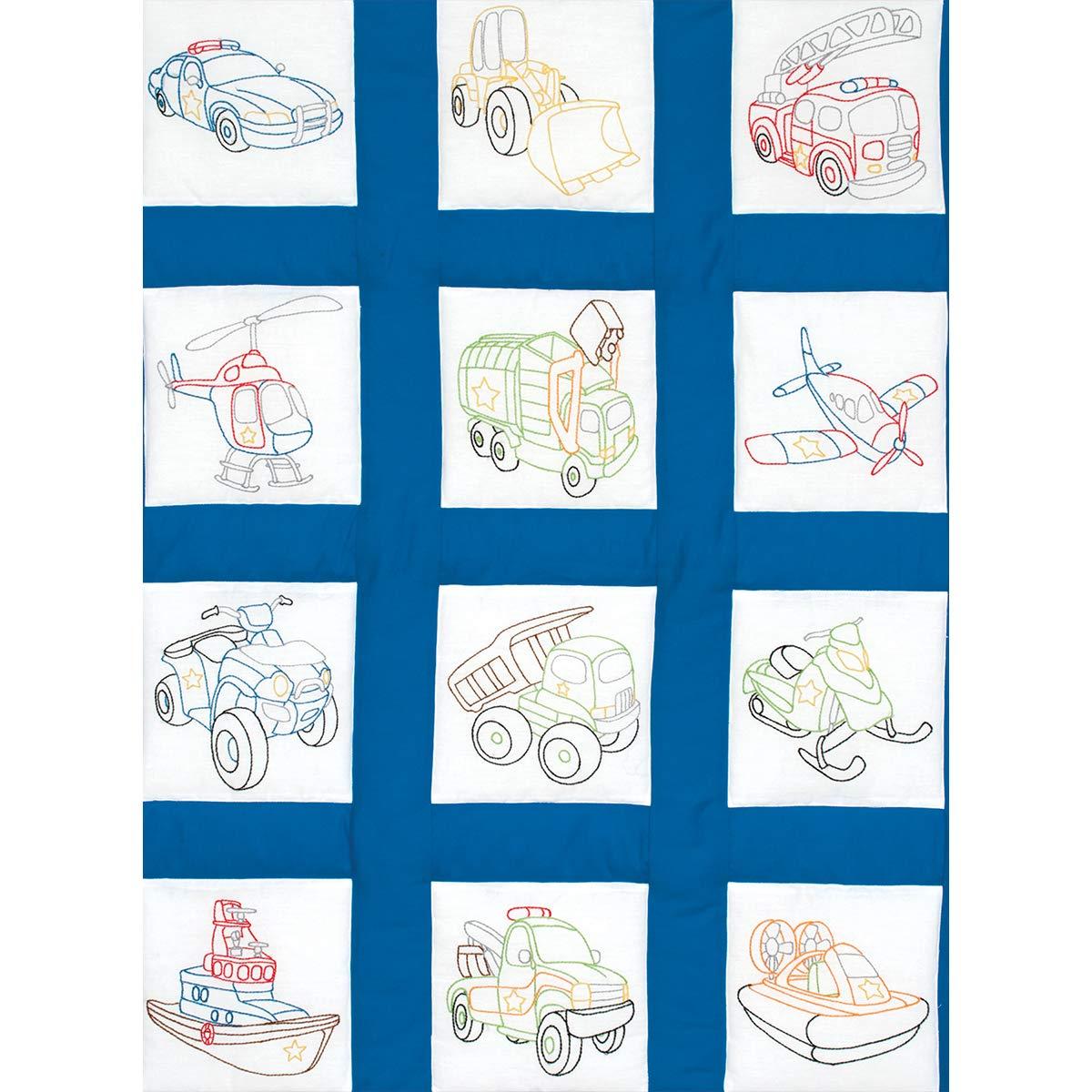 Jack Dempsey JDN737.745 Quilt Blocks 9 Rescue Vehicles 12Pc Quilt Blocks 9 Rescue vehicles