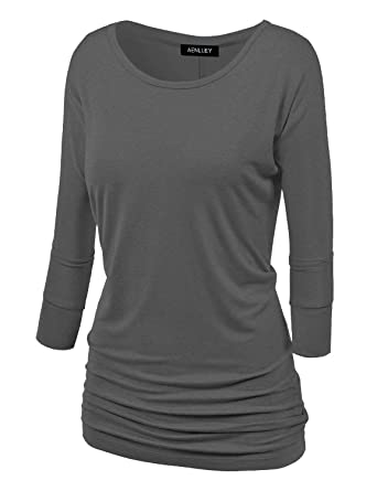 d5c70205614b Aenlley Womens Boat Neck Dolman Top 3/4 Sleeve Solid Shirring Drape Jersey  Tops Color Black Color Grey Size L at Amazon Women's Clothing store: