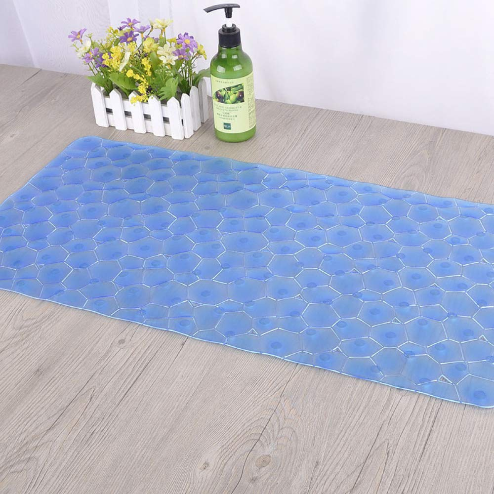 PLLP Bathroom Anti-Slip Mat, Stylish Transparent Water Cube, Environmentally Friendly and Tasteless Rectangular, Bath Mat,Blue,6437cm