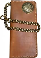 D'SHARK Biker Genuine Leather Billfold Wallet with Solid Brass Chain (DSW7C-Brown)