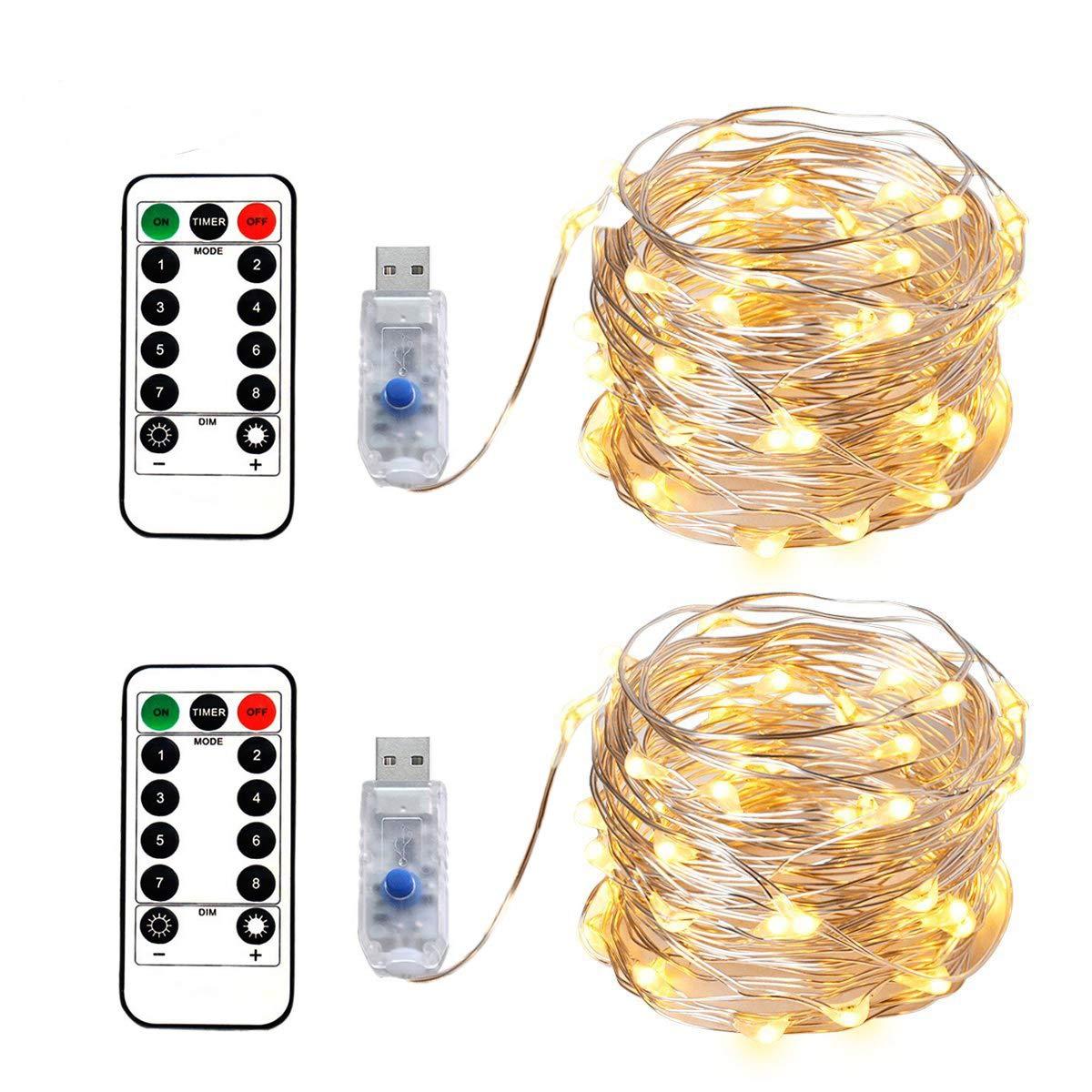 2 x LED Micro Lichterkette im 5M 50LEDs Silbernedraht USB-Anschluss mit Fernbedienung 8 Programm und Zeitwahl Dimmen LED-Lichter für Party, Zimmerdekoration, Weihnachten, Halloween, Hochzeit, Beleuchtung Deko (Warmweiß)