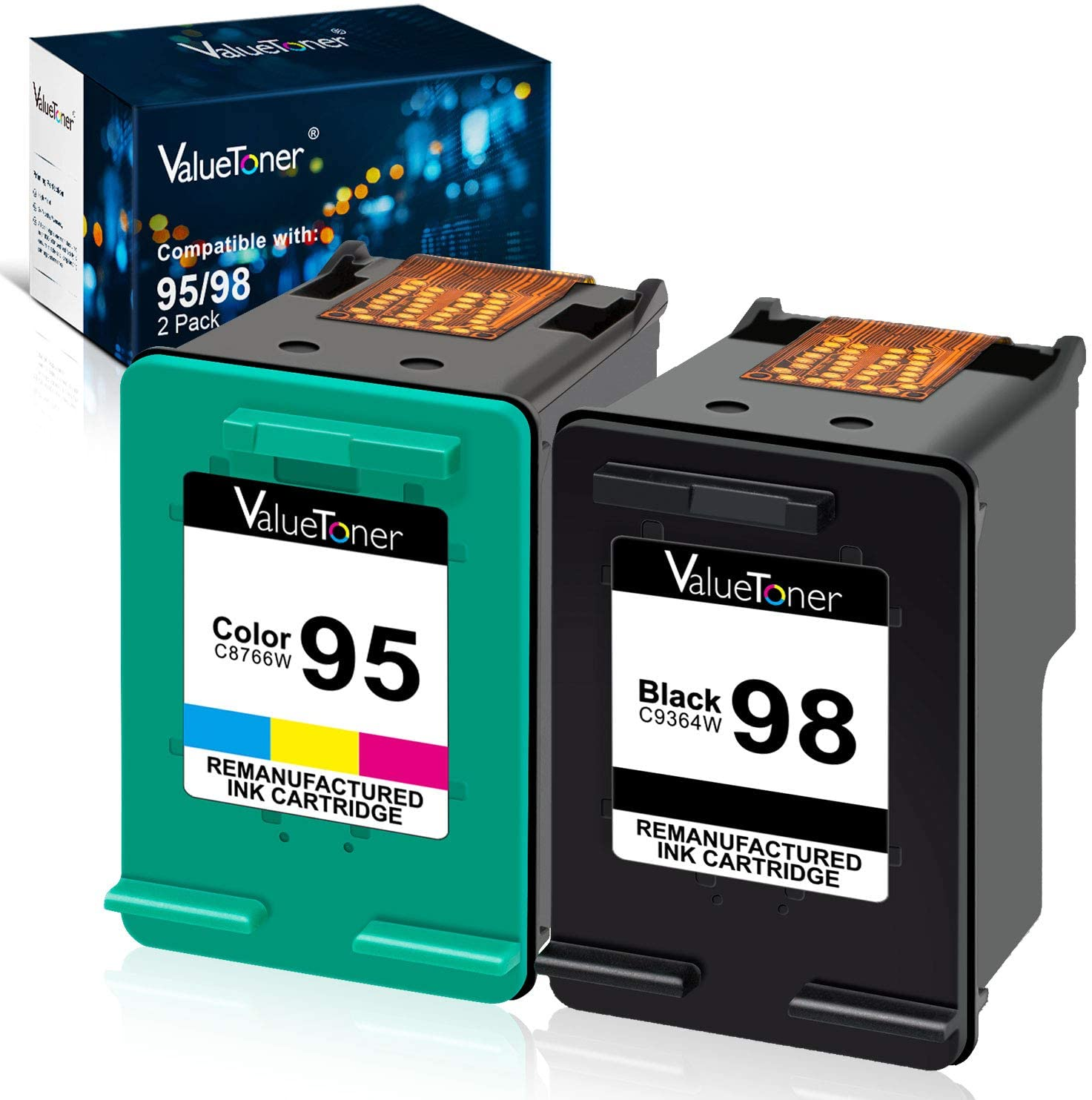 Valuetoner Remanufactured Ink Cartridge Replacement for HP 98 C9364WN & 95 C8766WN for Officejet 150 100 6310, PhotoSmart 8050 C4180 C4150, Deskjet 460 5940 Printer (1 Black, 1 Tri-Color, 2 Pack)