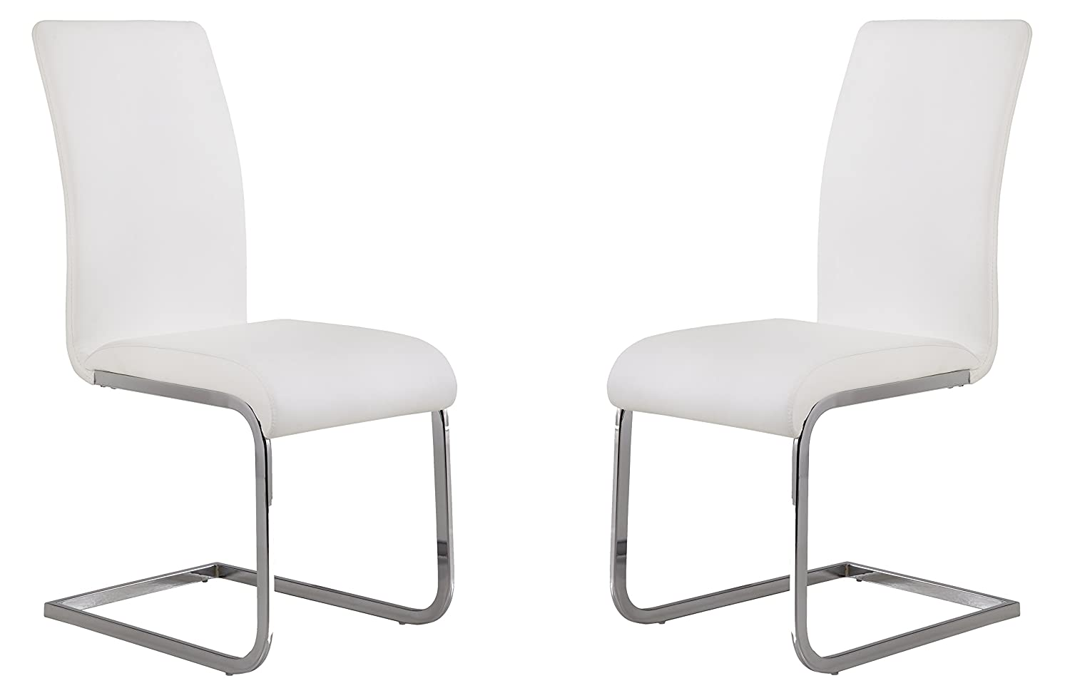 Amazon.com - Armen Living LCAMSIWH Amanda Dining Chair Set of 2 in White and Chrome Finish - Chairs