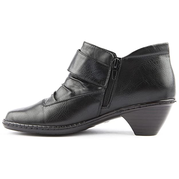 5a25dccb55a3 Ladies Caravelle Wide Fit Wymer Black Ankle Boots Size 8  Amazon.co.uk   Shoes   Bags