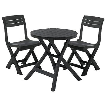 Amazon.de: Curver Jazz Gartenmöbel Set Runder Tisch und 2 Stühle ...
