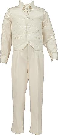 crema pantalones, chaleco, camisa y corbata.