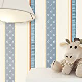 newroom bambini carta da parati crema blu a righe bella moderna e aspetto raffinato per bambini, ragazzi o ragazze, incluso tapezier Rat GEBER
