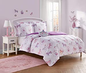 Unbranded Legends and Fairy 4-Piece Kids Comforter Set with Bonus Decals Included Unicorn, Crowns, Enchanted Castles, Princess Themed Bedding, Full, Pink/Coral-Blush