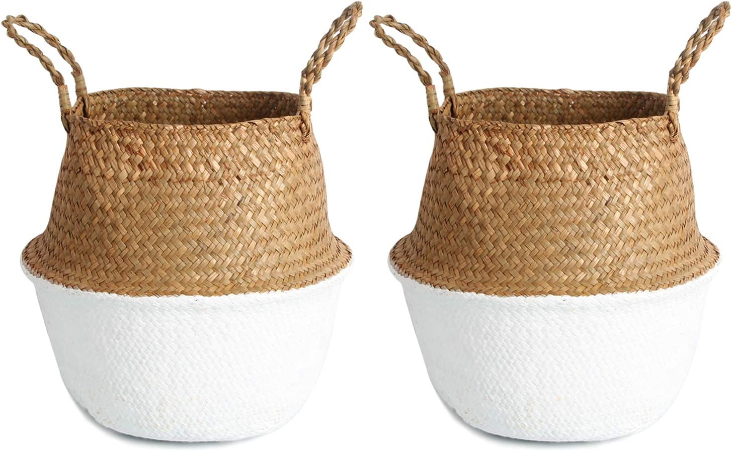 BlueMake Woven Seagrass Plant Basket Set of 2 Tote Bag with Handles for Storage, Laundry, Picnic,and Plant Pot Cover Medium, White
