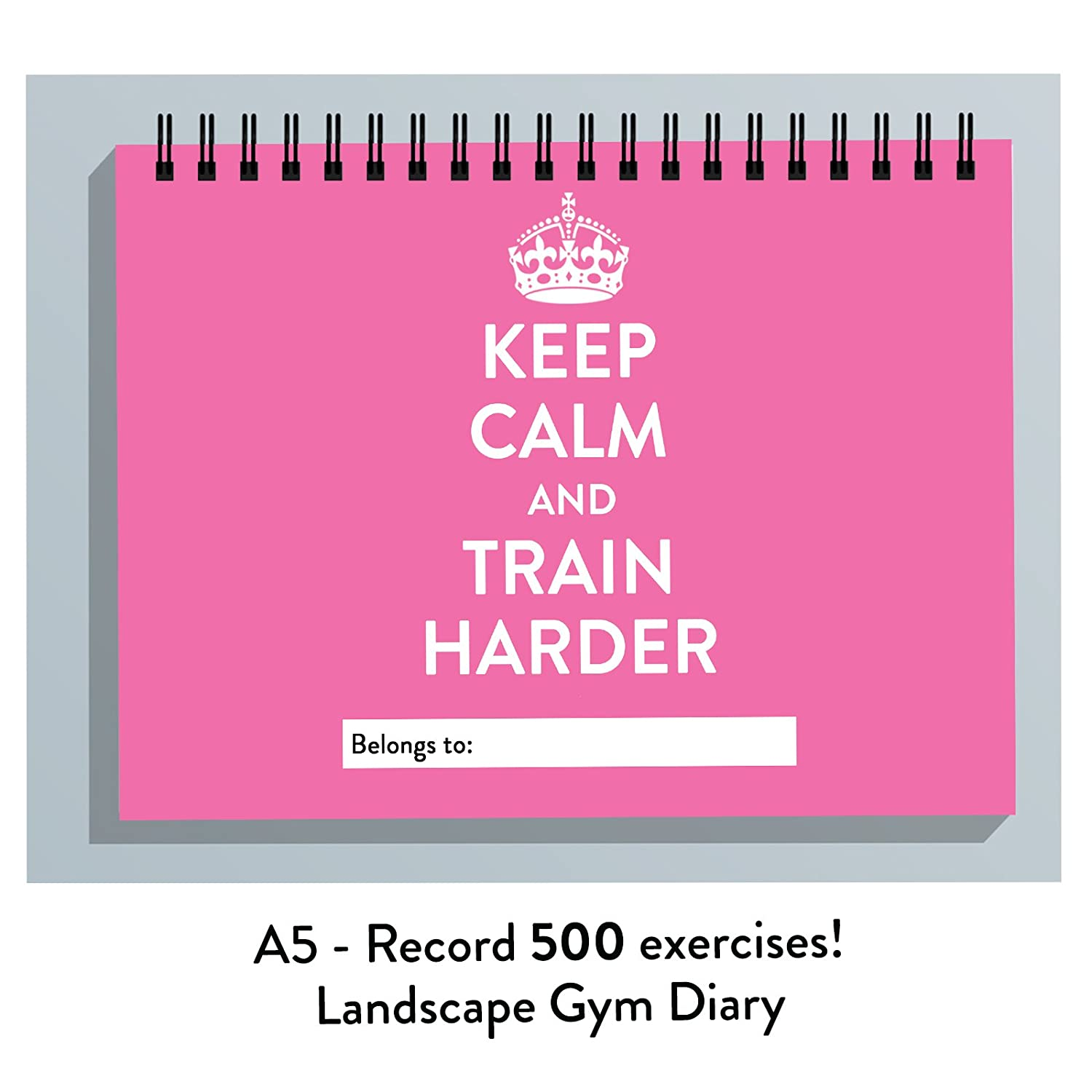 GYM TRAINING DIARY, 500 EXERCISES RECORDED JOURNAL, MEN & WOMEN'S LOG BOOK,REPS, WEIGHTS (K C PINK) The Calorie Club