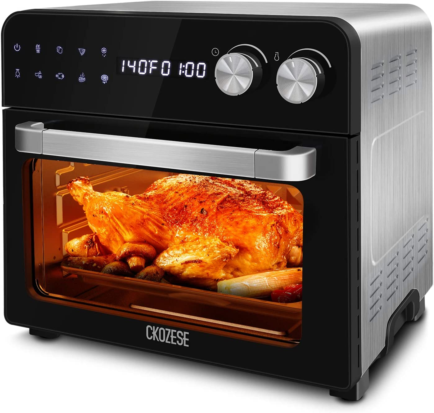 8-in-1 Cool Touch Digital Convection Toaster Oven, Dehydrator/Braking/Roasting/Rotisserie Function, 1700W, 24QT XL Stainless Steel Countertop Air Fryer Oven with Touchscreen, 7 Accessories & Recipe