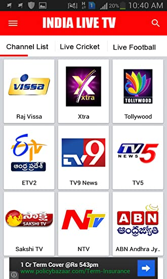 Amazon com: Indian Live T v: Appstore for Android