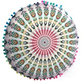 Hot Sale !Indian Large Round Floor Pillows,Beautyvan Comfortable Charming Indian Mandala Floor Pillows Round Removable and Washable Flowers Bohemian Cushion Pillows Cover Case Cushions (G)