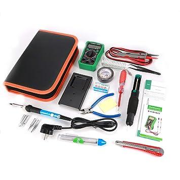 Kit de herramientas de soldadura electrónica Soldador Pistola de temperatura multímetro digital ajustable con puntas de