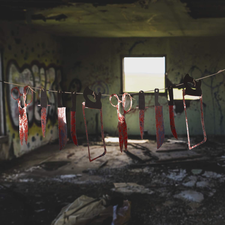 Blutig Waffen Dekoration Waffen-Banne f/ür Halloween Party Bar Spukhaus Horror Dekoration Requisiten Remebe Halloween Party Deko Set