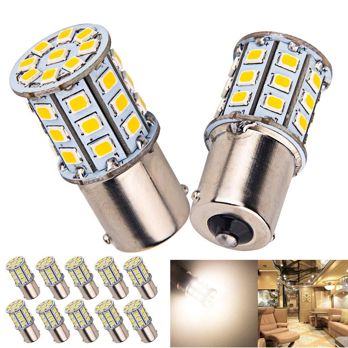 20 x Super Bright 4.2W BA15S 1156 1141 1003 RV Interior White Light LED Bulbs Camper Trailer Turn Signal Backup Reverse,4000K Neutral White