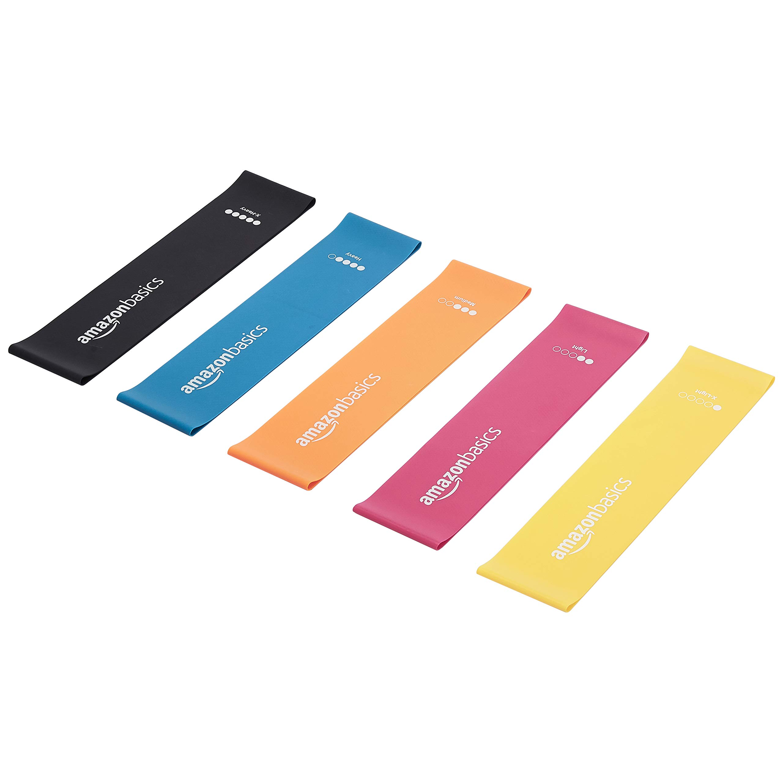Amazon Basics Latex Resistance Band - 600mm, 5-Piece Set